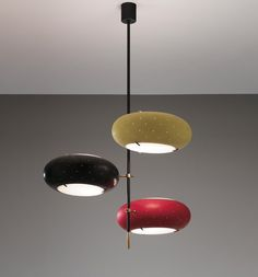 Angelo Lelii; Brass and Enameled Metal Ceiling Light for Arredoluce, c1957.