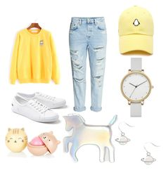 """""""Pastel yellow holographic"""" by parkyoongi on Polyvore featuring Lacoste, Skagen, WithChic and Forever 21"""