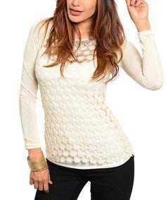 Beige Crochet Raglan Sweater