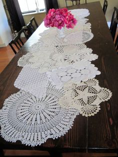 Grandma's doileys perhaps?  They do make a beautiful table runner.    Pinned with Pinterest  App for iPad!  Get it at the App Store!