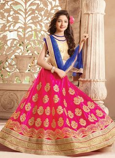 Pink Net #GirlsLehengaCholi With Embroidered,Lace Works. Order Girls Lehenga Choli Online @Chennaistore.com