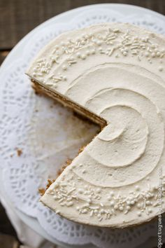 Warm, winter spices like nutmeg, cinnamon, and allspice are infused into this spiced cake, making it a satisfyingly sweet dessert. To make this elegant cake even more holiday appropriate, fluffy eggnog buttercream frosting is slathered on.     Get the recipe at Portuguese Girl Cooks.