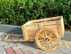 2 Wheel Cedar Wagon Planter, Ceder Wood Cart, Wooden Cart...Stain with gray stain.