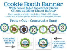 This is the perfect printable set to use to jazz up your cookie sales booth or table. Simply print, cut out, hole punch and attach them together with ribbon! For added cuteness to your table, cut out Girl Scout Swap, Girl Scout Leader, Girl Scout Troop, Girl Scout Cookie Sales, Girl Scout Cookies, Girl Guide Cookies, Cookies Et Biscuits, Gs Cookies, Girl Scout Badges