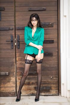 Stockings And Suspenders, Sexy Stockings, Beautiful Asian Women, Beautiful Legs, Skirt And Top Set, Jolie Lingerie, Girl Fashion, Fashion Outfits, Sexy Legs And Heels