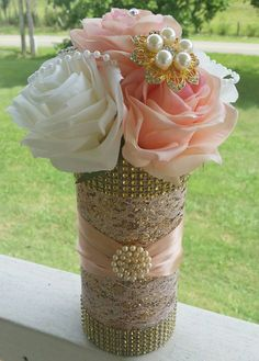 Rose Gold Centerpiece pink and white roses with pearls and