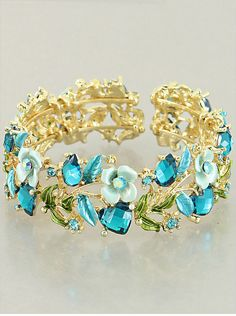 Blue Floral Flower Gold Tone Cuff Bangle Wrap Bracelet Women Fashion Jewelry   #DazzledByJewels #CuffOpenMemoryWireBangle #jewelry #jewels #jewel #socialenvy #fashion #trendy #accessories #love  #beautiful #ootd #style #fashionista #accessory #instajewelry #stylish #cute  #jewelrygram #women #teen #womenfashion #colorful #girly #swag #shopping  #DazzledByJewels #gift #bracelet