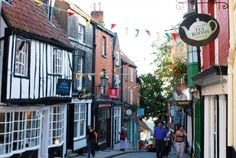 Quirky shops along ancient Steep Hill in Lincoln