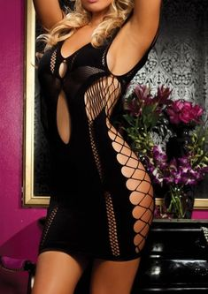 In a flirty mood? Try on this seamless dress for a style that will attract men in droves! Made of 90% Nylon and 10% Elastane. Large fishnet side panels. Front and back keyhole. One size fits most.