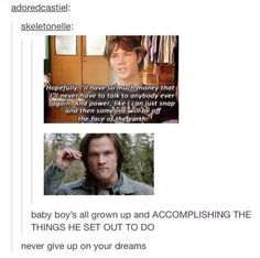 Find images and videos about lol, dreams and supernatural on We Heart It - the app to get lost in what you love. Castiel, Supernatural Memes, Supernatural Crossover, All Grown Up, Super Natural, Jared Padalecki, You Gave Up, Superwholock, Never Give Up