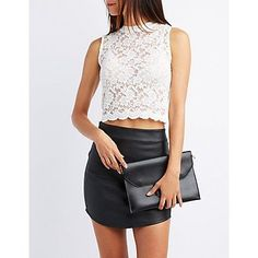 Floral lace sculpts a sweet little tank top! The look stays sheer from the mock neckline to the scalloped hem, so you can pair it with your favorite bandeau or bralette! Sheer Lace Top, Mock Neck, White Lace, Charlotte Russe, Leather Skirt, Floral Tops, Turtle Neck, Skirts, Outfits