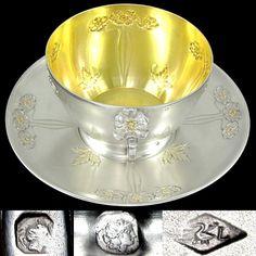 Large Antique Art Nouveau French Sterling Silver Gilt Vermeil Repousse Chocolate, Tea / Coffee, Cup & Saucer Set, 333.7g