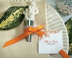 The realistic appearance of the Coral Wine Bottle Stopper Beach Favors is due to incredible detail in the poly resin. Fitted with a metal stopper at the base, the Coral Bottle Stopper favors will bring the feel of the beach right to your wedding. Destination Wedding Favors, Unique Wedding Favors, Wedding Ideas, Wedding Decor, Wedding Planning, Wedding List, Wedding Themes, Party Planning, Wedding Details