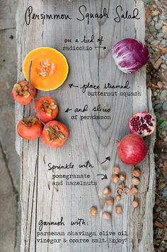 """Persimmon Squash Pomegranate Salad..... (one of the several recipes in my article """"Coming To Life…Amazing Spring Salads"""") ….and a note on making a quick healthy salad dressing with 2/3 olive oil and 1/3 apple cider (or coconut ) vinegar click through for full article"""