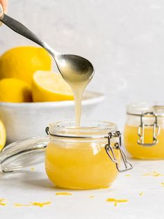 Did you know you can make Vegan Lemon Curd that is eggless and dairy-free? This easy vegan lemon curd requires only 5 ingredients is so delicious! Lemon Curd Dessert, Vegan Lemon Curd, Lemon Curd Filling, Best Vegan Desserts, Vegan Dessert Recipes, Vegan Sweets, Gf Recipes, Sauce Recipes, Free Recipes