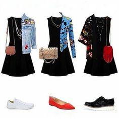 WEBSTA @ cassialmeida_ - 1 vestido preto 3 looks!⚫O vestido preto básico com certeza é uma peça coringa que toda mulher deve ter. Você pode combinar com tudo, tudo mesmo. Da pra compor looks do básico ao chic para ocasiões diferentes. Então anota ai se você não tem um, coloca na lista pra comprar, afinal você não vai ter só um vai ter vários.