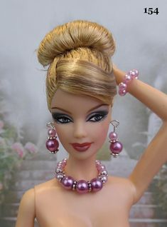 Jewelry Barbie necklace earring for doll Barbie Fashion Sewing Barbie Clothes, Barbie Dolls Diy, Barbie Fashionista Dolls, Vintage Barbie Dolls, Barbie Dress, Barbie Hairstyle, Barbie Doll Accessories, Beautiful Barbie Dolls, Barbie Patterns