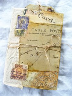 Handmade Travel Journal Notebook Folder Vintage Inspired