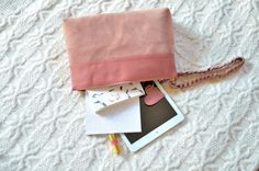 Items similar to Ivy. Leather Wristlet Clutch on Etsy Leather Pouch, Pink Leather, Leather Purses, Zipper Pouch, Ivy, Wallet, Trending Outfits, Unique Jewelry, Handmade Gifts