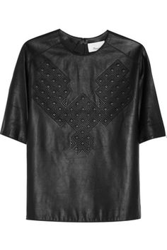 3.1 Phillip Lim|Quilted leather T-shirt|NET-A-PORTER.COM
