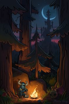 Here is an illustration I did recently for the game Shovel Knight! It's my interpretation of the wonderful campfire cut scenes from the game.It will also be on sale next weekend at the Fangamer booth at PAX Prime! (And probably later in the Fangamer store.)
