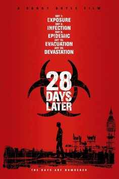 28 Days Later - directed by Danny Boyle and starring Cillian Murphy, Naomie Harris, Brendan Gleeson and Noah Huntley. Horror Movie Posters, Best Horror Movies, Zombie Movies, Scary Movies, Great Movies, 10 Film, Film Serie, Halloween Film, Love Movie