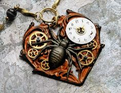 Eternal Widow Steampunk Spider Necklace - Vintage Clock Watch Gears Halloween Heart Gothic Dreampunk Collage Assemblage