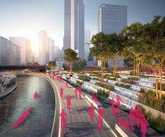 The Chicago River Edge Ideas Lab Helps Architects Envision a Revived Waterfront Floating Architecture, Landscape Architecture Design, Architecture Diagrams, Architecture Portfolio, Classical Architecture, Ancient Architecture, Sustainable Architecture, Park Landscape, Urban Landscape