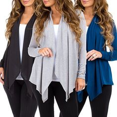 Rags and Couture Women's 3 Pack Hacci Open Front Cardigans Made in USA Amazon Prime Day Deals, Open Front Cardigan, Sweater Fashion, Cardigans, Sweaters For Women, Couture, Usa, Blouses, Store