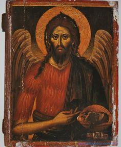 St John the Baptist Byzantine Icons, Byzantine Art, Christian Paintings, Christian Art, Sacred Symbols, Sacred Art, Religious Images, Religious Art, Greek Icons