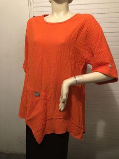 Moonlight Y & S Fashions Orange Asymmetric Lagenlook Tunic Top Shirt Boutique M #Moonlight #Tunic #Versatile