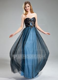 Prom Dresses - $142.29 - A-Line/Princess Sweetheart Floor-Length Taffeta Tulle Prom Dress With Ruffle Beading Feather Flower(s) (018018869) http://jjshouse.com/A-Line-Princess-Sweetheart-Floor-Length-Taffeta-Tulle-Prom-Dress-With-Ruffle-Beading-Feather-Flower-S-018018869-g18869?ver=xdegc7h0
