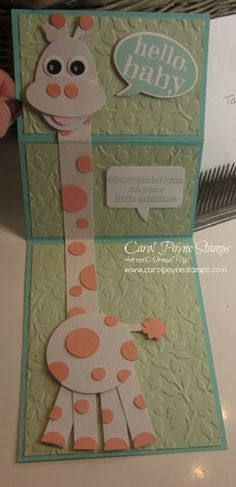 Stampin' Up!, Little Sunshine, Sophie the Giraffe, Punch Art, Spring Flowers Textured Impressions Folder, Word Bubbles Framelits, DIY baby cards,