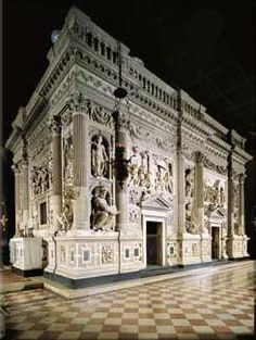 Marble facing covering the Holy House of Loreto, Italy