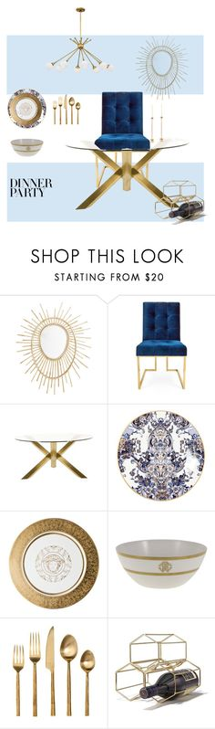 """""""#PolyPresents: Dinner Party"""" by iconicme ❤ liked on Polyvore featuring interior, interiors, interior design, home, home decor, interior decorating, Jonathan Adler, Jayson Home, Roberto Cavalli and Versace"""