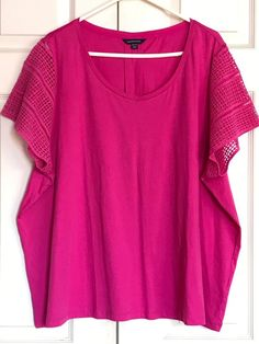 LAND'S END Fuchsia Pink Lace Sleeves Knit Top Size 3X 24W 26W PLUS  #LandsEnd #KnitTop #Casual