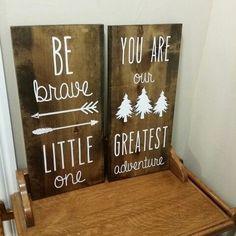 Baby shower gift. Be brave.  Greatest adventure.  Wood sign.  Vinyl lettering.  Made by Danica https://m.facebook.com/mynewvinylfriend/