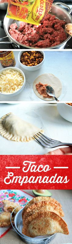 Looking for a unique idea for dinner, or a fun appetizer to share? Try these Taco Empanadas. Packed with refried beans, beef and all of your favorite Mexican flavors - these empanadas are fun for everyone! Mexican Dishes, Mexican Food Recipes, Beef Recipes, Cooking Recipes, I Love Food, Good Food, Yummy Food, Wan Tan, Salads