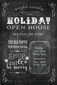 Christmas Open House Invitation / Printable by sixteensunbuckles  www.sixteensunbuckles.com www.etsy.com/shop/sixteensunbuckles
