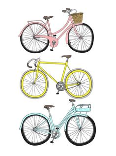 pastel pink, yellow, and blue bicycles | Emmakisstina illustrations