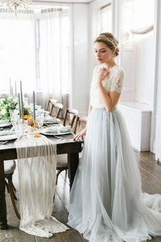 white and grey tulle wedding dress