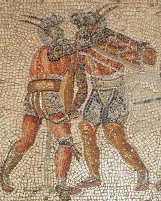 Mosaic two gladiators in close combat. They can be identified as a murmillo (left: one greave, helmet's crest) and a thraex (right: high greaves). The man to the left has taken a backhanded draw-cut to the back of the thigh as a result. Blood is falling down and he will soon die a painful death, unless he receives a coup de grâce. Villa Dar Buc Ammera: Roman villa near Lepcis Magna, Libya, famous for its mosaics, which are to be seen today in the Archaeological Museum of Tripoli.