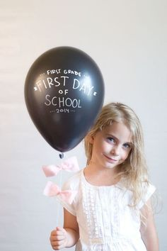 Balloon First Day of School Photo Idea - First Day of School Traditions - Photos