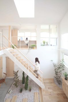Natural Japanese Interior Design Looks Natural For The Combination White Color And Wood In Japanese Architecture Interior Architecture, Interior And Exterior, Interior Garden, Interior Stairs, Interior Modern, Color Interior, Stairs Architecture, Modern Decor, Interior Plants