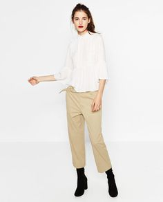 Image 1 of GUIPURE BIB FRONT BLOUSE from Zara