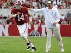 Alabama quarterback Jake Coker (14) goes in under the direction of Alabama offensive coordinator Lane Kiffin at Bryant Denny Stadium in Tuscaloosa, Ala. on Saturday September 20,  2014.