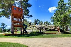 Playground & treehouse of luxury home in Estes Park, Colorado