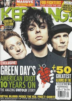 Kerrang magazine Green Day Royal Blood Pierce the Veil Foo Fighters Posters Magazine Front Cover, Magazine Covers, American Idiot Album, Foo Fighters Poster, Royal Blood, Billie Joe Armstrong, Music Magazines, Pierce The Veil, Band Merch
