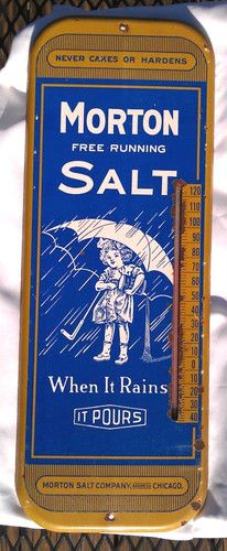Vintage Morton Salt Advertising Thermometer Tin Sign Umbrella Girl Rittman Ohio | eBay