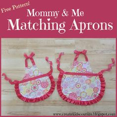 Mommy & Me  Matching Aprons!  Free pattern Sizes Adult, Tween, Medium Child, and Small Child  Printable PDF Pieces Easy Photo Instructions